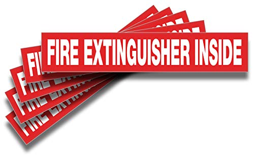 Fire Extinguisher Inside Signs Stickers - 5 Pack 9x1.7 Inch - Premium Self-Adhesive Vinyl, Laminated for Ultimate UV, Weather, Scratch, Water and Fade Resistance, Indoor and Outdoor