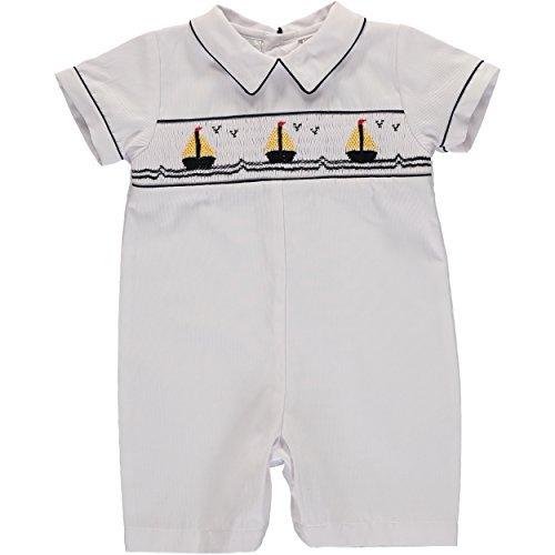 - Baby Boys White Shortall Nautical Smocked Sailboats Short Sleeves