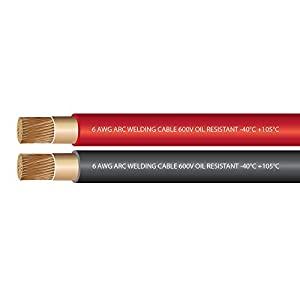 6 Gauge Premium Extra Flexible Welding Cable 600 VOLT COMBO PACK – BLACK+RED – 25 FEET OF EACH COLOR – EWCS Brand – Made in the USA!