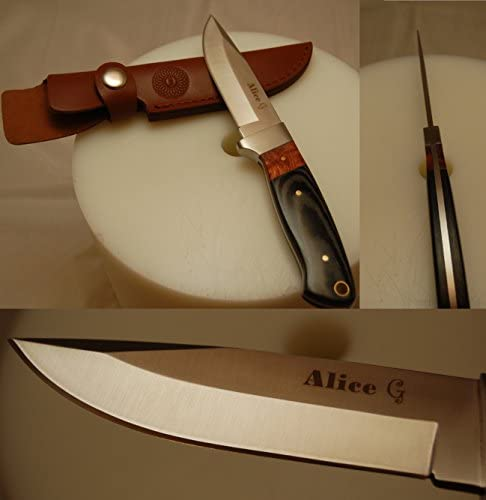 ALICE G Custom Made Full Tang O1 Steel Fixed Blade Knife with Leather Shealth