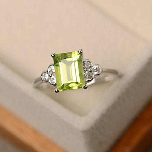 Natural peridot rings for women sterling silver emerald cut customized jewelry