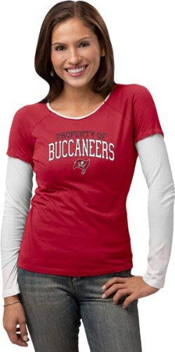 Tampa Bay Buccaneers -Red- Women's Logo Property Too Long Sleeve Layered Tissue Tee - Small