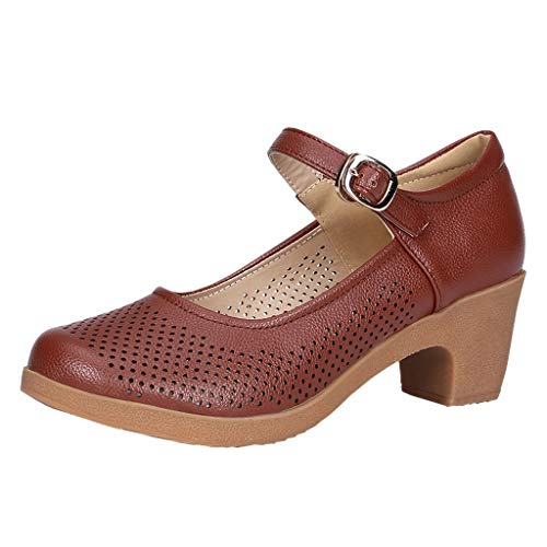 PAQOZ Women's Sandals, Ladies Rumba Waltz Prom Ballroom Latin Salsa Dancing Singles Leather Shoes (Brown, 36)