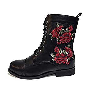 T.U.K. Rewind Womens Black Rose Embroidered Combat Boot, Size 9.5 D(W)