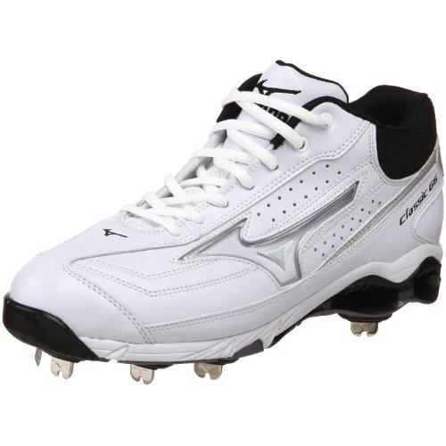 - Mizuno Men's 9-Spike Classic G6 Mid Switch Baseball Cleat,White/Black,10 M US
