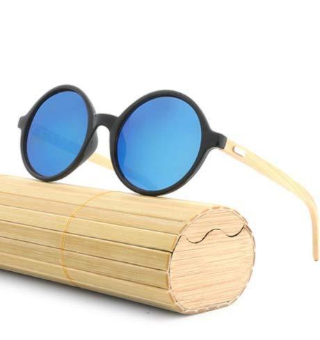 WENZHEN Gafas de Sol con Montura de Madera de Forma Redonda ...