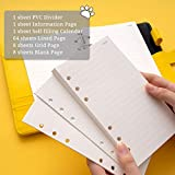 Refillable Lined Papers for Binder Journal A6