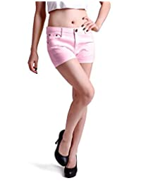 HDE-Color sólido de la Mujer Ultra Stretch Fitted Low Rise Moleton Denim Pantalones Cortos De Botín