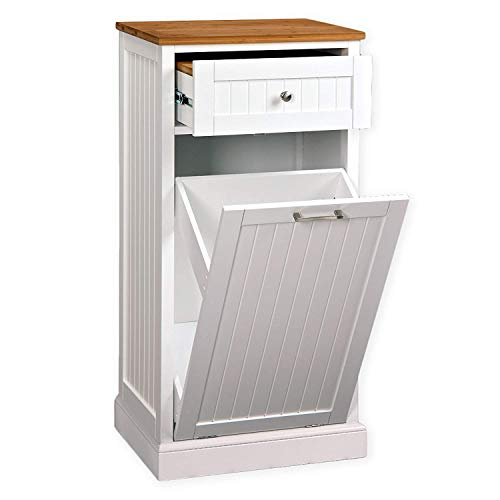 SpaceMaster SM-CMC-800 Freestanding Microwave Kitchen Cart with Trash Can Holder and Bamboo Cutting Board White by SpaceMaster (Image #1)