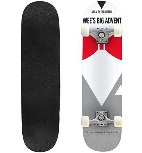 Cuskip Pee Wees Big Adventure Skateboard Complete Longboard 8 Layers Maple Decks Double Kick Concave Skate Board, Standard Tricks Skateboards Outdoors, 31
