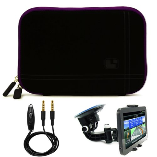 Micro Suede Lightweight Carrying Sleeve For Verizon Wireless Ellipsis 8 HD / Ellipsis 7 HD Tablet + Auxiliary Cable + Windshield Car Mount
