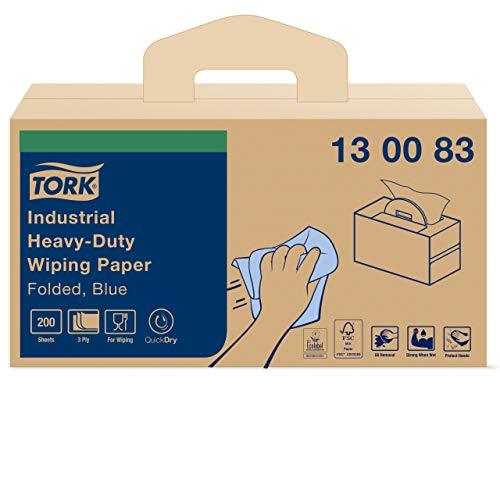 Tork 130083 Extra Starke Industrie Papierwischtücher mit W7 Handy Box System / 3-lagige Papierhandtücher in Blau/Premium…