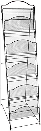 Safco Products Onyx Floor Literature Organizer Rack, 5 Pocket, 6461BL, Black Powder Coat Finish, Durable Steel Mesh Construction, Space-saving Functionality - Onyx Mesh Magazine Rack