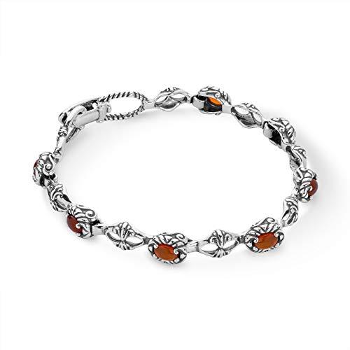 - Carolyn Pollack Sterling Silver Orange Carnelian Gemstone Tennis Bracelet Size Medium