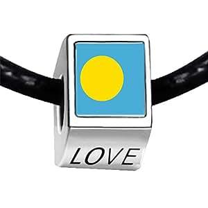 Chicforest Silver Plated Palau flag Photo LOVE Charm Beads Fits Pandora Charm
