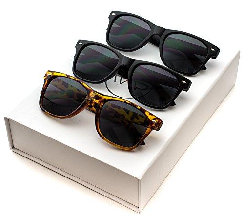 Black Classic Horn Rimmed 80s Retro Sunglasses Box: Glossy Black / Matte Black / Tortoise