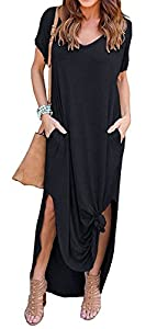 ZIKKER Women Loose Plain Long Maxi Dress Casual Pockets Dresses