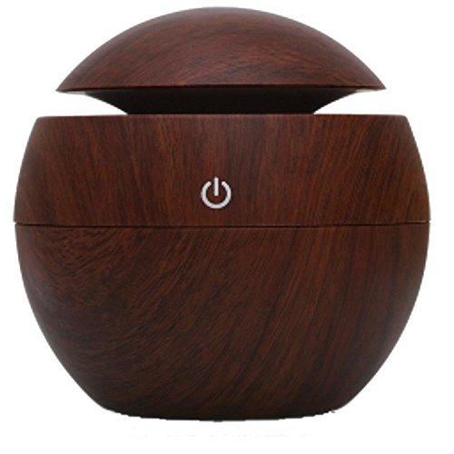 Kmise USB Cool Mist Humidifier Ultrasonic Aroma Essential Oil Diffuser 130ml Light Wood Grain For Office Home Bedroom Living Room Study Yoga Spa (Dark Wood Grain, 130 ml) by Kmise (Image #1)