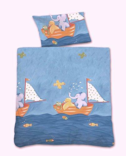 CASTELL Baby-Bettwäsche aus Linon Segelboot mit Tieren, blau 100x135 + 40x60 cm