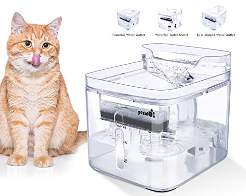 Pecute Pet Water Fountain for Cats and Dogs, Ultra-quiet, 3L, 3 Kinds of Outlet Mode, 2 Reusable Filter, Transparent Design, Water Stains and Water Level at a Glance