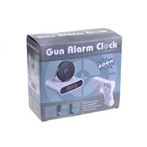 iBRIGHT LLC Gun-Alarm-01 Shooting Gun Recordable Alarm Clock - White
