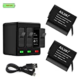 AILUKI GoPro Rechargeable Battery 2 Pack x 1500mAh and 3-Channel Charger for GoPro Hero 5 Black