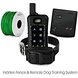 Advanced Electric Dog Fence Train & Containment System - 1200yard Remote - 20 Acre Fence Range inc. 500ft Solid Copper Boundary Wire, 100% Waterproof and Rechargeable, Beep/Vibration/Shock, 8-100 lbs