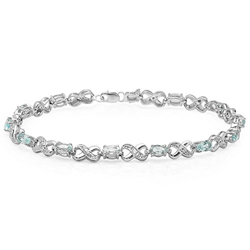 Sterling Silver Real Oval Cut Blue Topaz & Round Cut White Diamond Ladies Infinity Link Tennis Bracelet by DazzlingRock Collection