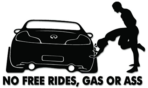 - JDM No Free Rides Gas Or Ass Vinyl Decal Sticker For Vehicle Car Truck Window Bumper Wall Decor - [8 inch/20 cm Wide] - Gloss WHITE Color