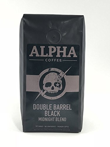 Alpha Coffee, French Roast Whole Bean Coffee, Dark Roast, 12 ounces, Double Barrel Black Midnight Blend, Bold, Intense, 100% Arabica Coffee