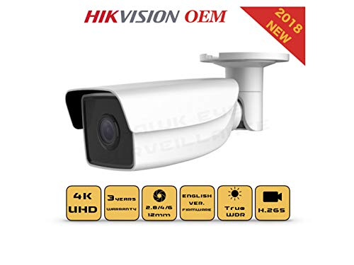 4K PoE Security IP Camera – Compatible as Hikvision DS-2CD2T85FWD-I5 UltraHD 8MP EXIR Bullet Onvif Weatherproof 2.8/4mm Fixed Lens Best Home Business Security 3 Year Warranty (4mm)