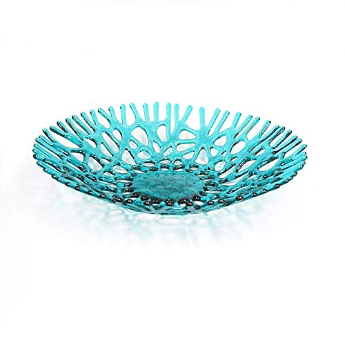Lacy Glass Art Sea Coral Fruit Bowl Centerpiece in Aquamarine Blue Green for $<!--$63.00-->