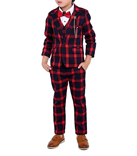 Boys Black Red Green 3 Colors Plaid Suit 3 Pieces Jacket Vest Pants Size 2T - 10 (8, Red)