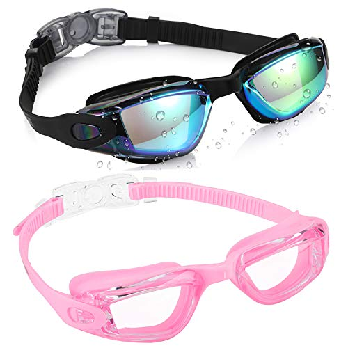aegend Kids Swim Goggles, Pack of 2 Swimming Goggles for Children Boys & Girls Age 3-9, Silicone Nose Bridge, Clear Vision, Easy-Adjustable Strap, UV Protection, Anti-Fog, No Leaking, Aqua & Pink