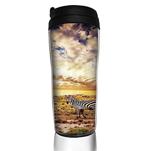 Stainless Steel Insulated Coffee Travel Mug,Sunset with Zebras on the Grassland Dramatic,Spill Proof Flip Lid Insulated Coffee cup Keeps Hot or Cold 11.8oz(350 ml) Customizable - Zebra Pro Touch Snap