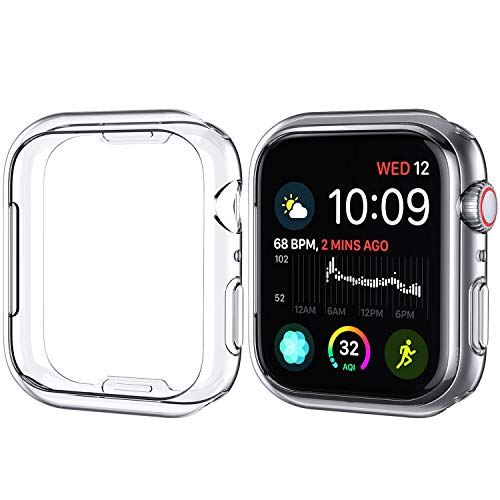 iMieet 2 Pack Compatible with Apple Watch Case 44mm Series 4, Soft TPU Screen Protector Protective 0.3mm HD Clear Ultra-Thin Cover Case for iWatch Series4 44mm 2018 Released