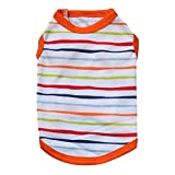 haoricu Pet Clothes, Striped Cotton Stretch Vest Dog Pet Clothes for Small Coat Dog Vest (M, Orange)