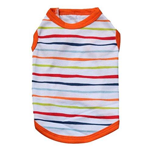 Price comparison product image Pet Clothes,Haoricu Striped Cotton Stretch Vest Dog Pet Clothes for Small Coat Dog Vest (S, Orange)
