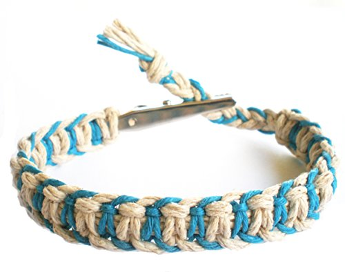 Hempnotic Jewelry Adjustable Alligator Clip Teal and Natural Hemp Bracelet - Handmade