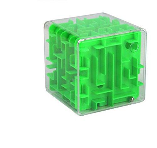 Tery Mango de Dibujos Animados Palo Transparente 3D Tumba Laberinto Estéreo Pinball Adulto Inteligencia Descompresión Cubo Juguete (Verde)