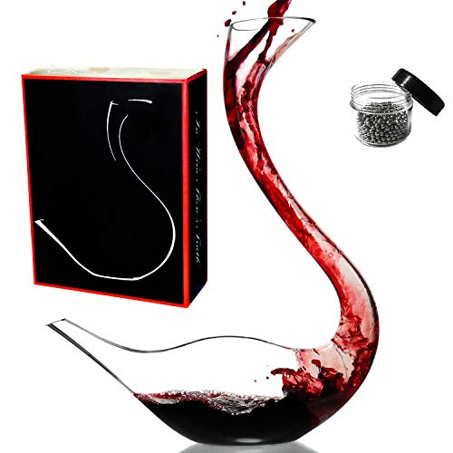 Le Sens Amazing Home Cygnus Wine Decanter 100% Hand Blown Lead-Free Crystal Glass Swan Decanter, Prepackaged Red Wine Carafe, Wine Gift, Wine Accessories,Gift Box Wrapped and Free Cleaning Beads Set