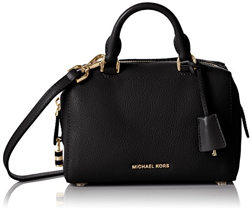 Michael Kors Kirby Large Satchel pebble leather Black/Gold by Michael Kors