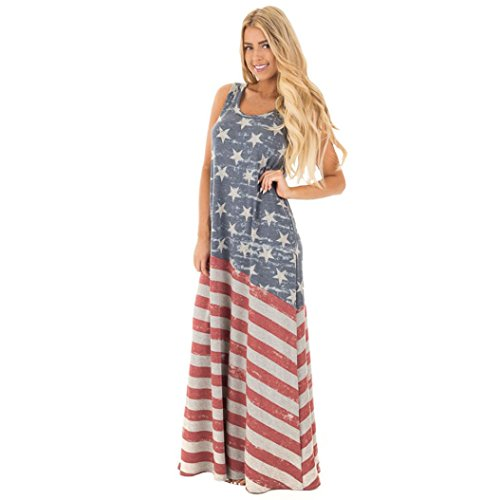 New Fashion Women America Flag pattern Dress, Ninasill Exclusive Beautiful Sleeveless Printed Casual Loose Dress Party Evening Long Dress (L, Red) - Exclusive Sleeveless Dress