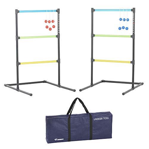 - Triumph Ladder Toss Outdoor Set Requires No Tools to Assemble and Includes Six Soft Ball Bolas and Carry Bag