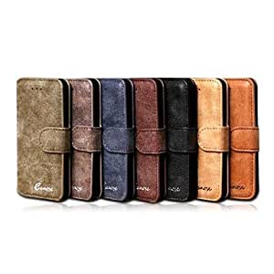 YXF sold out Luxury Retro Scrub Genuine Leather Case Cover with Stand for iPhone 5C , Dark Brown