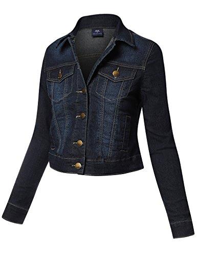 Meilleur Mode Cotton Blue Denim Jackets Dark BL Large (Faux Fur Coat Limited Edition)