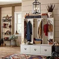 Hall Tree Three Drawers Storage Space in Antique Bronze White Color Wood Material Hooks Included Enclose Storage Entryway Furniture