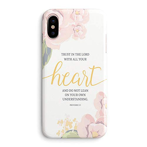 (Frepstudio iPhone XR Case Girls,Funny Women Cute Flowers Floral Rose Design Christian Bible Verse Inspirational Life Quotes Proverbs 3:5 Trust Lord with Your Heart Soft Case Compatible for iPhone)
