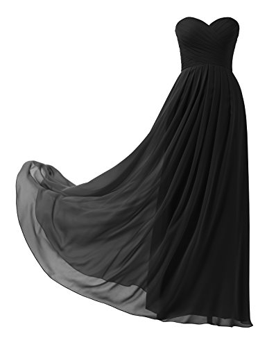 Topwedding Remedios A-Line Chiffon Bridesmaid Dress Strapless Long Prom Evening Gown, 98 Black,US2 ()
