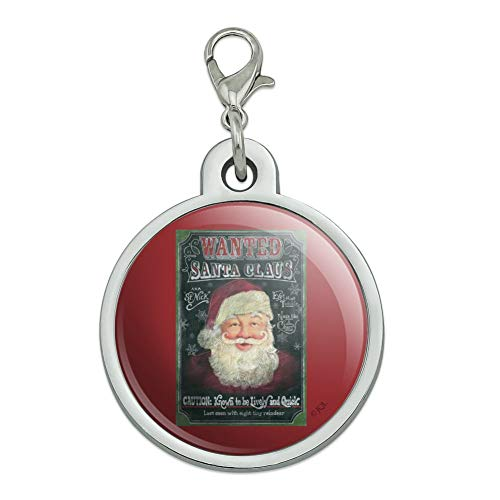 GRAPHICS & MORE Christmas Holiday Santa Claus Wanted Poster Chalkboard Chrome Plated Metal Pet Dog Cat ID Tag - ()